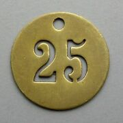 Vintage Brass Number 25 French Medal Charm Birthday Industry Industrial.