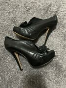 Vince Camuto Mistys Black Leather 5 Inch Heels. Open Toe Size 7b/37