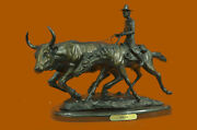 Art Deco Western Old West Cowboy On Horse With Cattle Handcrafted Figure Decor