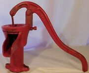 Antique Primitive Hand Pump Water Well Rustic Farmhouse Kitchen Barnes Red Iron