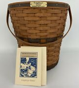 """Vtg 1989 Edition Longaberger Bankers Waste Basket 14""""t With Handle And Card"""