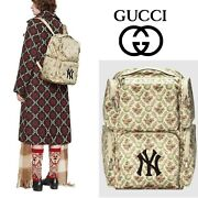 Ny Yankees Floral Gg Patch Large Backpack Beige Green Limited Edition