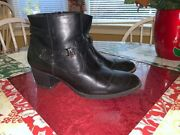 White Mountain Black Side Zipper Ankle Boots Man Made Materials Size 10m