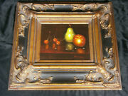 Frank Lean Original Oil Painting On Canvas - Still Life Fruit Signed And Framed