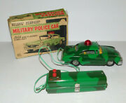 Near Mint Vintage Marx Battery Operated Remote Control Military Police Car And Box