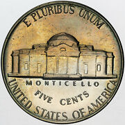 1966-p U.s 5 Cents Jefferson Nickel Special Strike Natural Color Toned Unc Mr