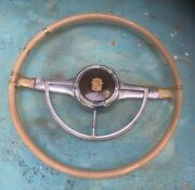 1941 Cadillac Steering Wheel Chrome Horn Ring Bezel Plastic Button