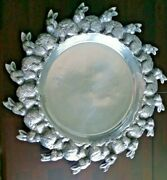 Large 20 Cast Metal Silver Rabbit Border Platter Made In Mexico - Bunnies
