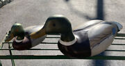 2x Wildflower Decoys Mallard Hen Signed Wooden Duck Collectible Ny Lot