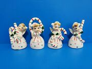 Rare In Box Japan Wales Ceramic Set Of 4 Christmas Bells Candy Cane Angels Noel