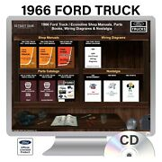 For Ford F-100 66 1966 1966 Ford Truck/van Shop Manuals, Wiring Diagrams And Parts