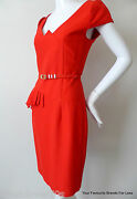 George Gross Dress Nwt Rrp 899.00 Red Sheath With Belt Size 8 Us 4