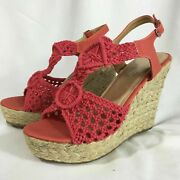 Women's Olivia Miller Brand Coral Pink Wedges High Heels Size 7 New