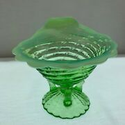 Northwood Ocean Shell Green Opalescent Twig Foot Whimsey Bowl C.1905