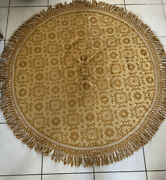 Vintage Sears Bellissimo Collection Round Tablecloth Gold Fringe Italy