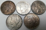 1922, 1923-s, 1934-d, Peace 1 Silver Dollar Lot Of 5 Us Silver Coins
