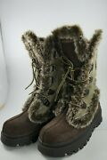 Sketchers Shape Ups Brown Faux Fur Lined Leather Boots Size 6 Womenand039s Sn 45708