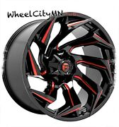 22 X10 Gloss Black Red Milled Fuel D755 Reaction Wheels Jeep Gladiator 5x5 5x