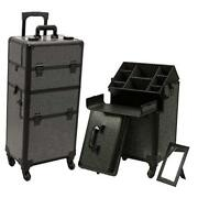 Professional Rolling Makeup Train Case, Heavy Duty Hair Stylist And Makeup