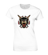 Panther And Swords Ladies T Shirt Cool Retro Tattoo Design Vintage Fashion New