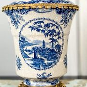 30cm Chinoiserie European Style Blue And White Chinese Ginger Jar Urn