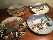 Set Of 4 Franklin Mint Heirloom Collection Americana Cow Plates-lowell Herrero