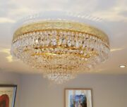 Vintage Italian Flush Mounted Gold Plated Crystal Austrian Strauss Chandelier
