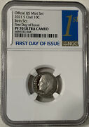 2021 S Dime 10c Clad Proof 1st Day Of Issue Ngc Pf70 Ultra Cameo Birth Set