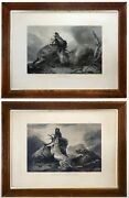 2 Antique 19th C. 1851 Deer Hunting Landscape Etchings Richard Ansdell Ra