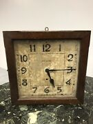New Haven Clock Co Antique Oak Balcony Gallery Wall Clock 8 Day For Parts Repair