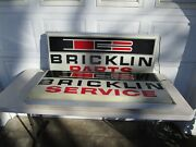 Rare Pair 2 Bricklin Parts And Service Signs Lighted Double Sided 48 See Pics