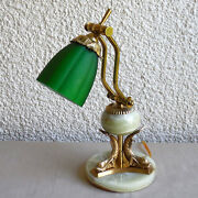 Vintage Brass And Onyx Art Deco Bankers Lamp Green Glass Shade