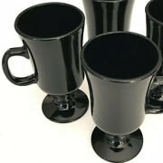 Indiana Glass 5 1/2 Tall Black Footed Irish Coffee Mugs Set Of 4 - Excellent