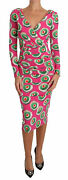 Dolce And Gabbana Dress Womenand039s Pink Silk Cup Cake Sheath Stretch It38/us2/s