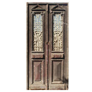 Antique Pair Of 44andrdquo French Colonial Doors With Iron Inserts Ned1219