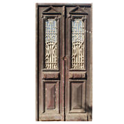 """Antique Pair Of 44"""" French Colonial Doors With Iron Inserts, Ned1219"""