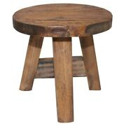 Short Wooden Stool Rustic Reclaimed Sturdy Side End Accent Table Seat Furniture