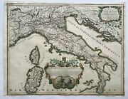 Italy 1695 Giacomo Rossi Large Antique Engraved Post Roads Map 17th Century