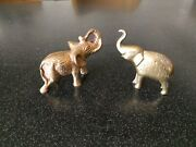2 Vintage Heavy Brass Elephant Paperweight Figurine African Indian