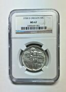 1938 Oregon Trail Ngc Ms67 Commemorative 50c Uncirculated Very Rare