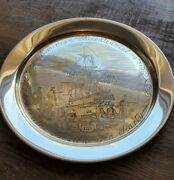 Danbury Mint 925 Sterling Plate Boston Tea Party 1773 24k Gold Accents 231g