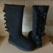 Ugg Triple Triplet Bailey Bow Ii Black Water-resistant Tall Boots Size 10 Womens
