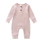 Hyui Newborn Baby Boy Girl Solid Knitted Button Long Sleeve Romper Jumpsuit One