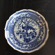 Asian Antiques Porcelain Blue And White Peacock Floral Tree 8 1/2andrdquo Shallow Bowl