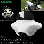 Detachable Batwing Fairing Windshield 6x9 Speakers Stereo For Harley Road King