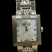 Lois Hill Watch Square Mop Face Sterling Silver Granulated And Cut Out Band