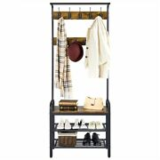 Industrial Hall Tree With Bench Entryway Coat Rack Shoe Bench Home Storage Shelf