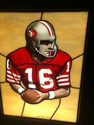 Joe Montana Stained/painted Glass 1989 Action Portrait In Light Box
