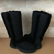 Ugg Sunburst Tall Black Water-resistant Suede Fur Boots Size Us 9 Womens