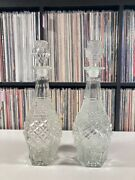 """2 Vintage Diamond Cut Glass Whiskey/wine Decanters 14"""" With Stoppers"""